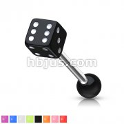 10,12,14ga Barbell w/ 1 Acrylic Dice End