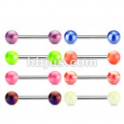 316L Surgical Steel Barbell with Metallic Coated Acrylic Ball 160pc Pack (20pcs x 8 styles)