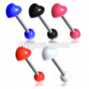 100 Pcs 316L Surgical Steel 14ga 5/8 Barbell w/ Acrylic Heart Top Bulk Packs Pack (20pcs x 5 colors)