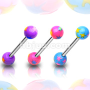 Multi Colored Starburst Acrylic Ball 316L Surgical Steel Barbell