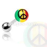 Rasta Acrylic Colored Ball w/ Peace Sign Print 316L Surgical Steel Barbell