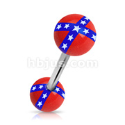 Acrylic Rebel Flag Balls 316L Surgical Steel Barbell