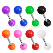 320 Pcs 316L Surgical Steel with Solid UV Acrylic Balls Barbell Tongue Rings Bulk Packs (40pc x 8 colors)