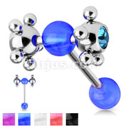 Barbell w/ Acrylic Ball & Clear Gem Set Multi Steel Ball
