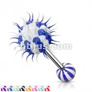 Candy Stripe Silicone Spikey Koosh Balls Barbell
