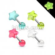 Star Glow in the Dark Top 316L Surgical Steel Barbell 80pc Pack (20pc x 4 colors)