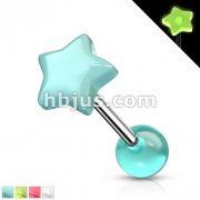 316L Surgical Steel Barbell with Glow in the Dark Star and Ball