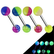 2-Color Glow In The Dark Ball Barbell
