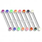 80 Pcs Metallic Coated Acrylic Ball 316L Surgical Steel Industrial Barbells Pack (10pcs x 8 colors)