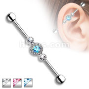 Three Gem Multi Paved Circle 316L Surgical Steel Industrial Barbell