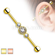 Three CZ Centered Multi Paved Circle Gold Plated over 316LSurgical Steel Industrial Barbell