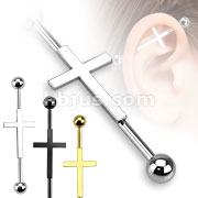 Cross Centered 316L Surgical Steel Industrial Barbells