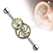 Burnish Gold Steampunk Centered 316L Surgical Steel Industrial Barbells