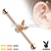 Sand Blast Sparkling Playboy Bunny Centered 316L Surgical Steel Industrial Barbells