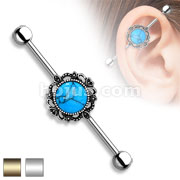 Turquoise with Filigree Around 316L Industrial barbells