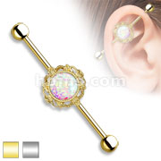 Opal Glitter center with Filigree Around 316L Industrial barbells
