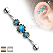 Triple Round Turquoise Center 316L Industrial barbells