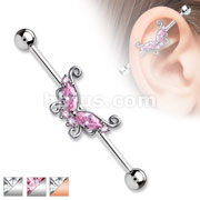 Marquise and Round CZ Butterfly 316L Surgical Steel Industrial Barbells