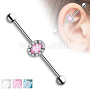 Oval CZ Center and Clear Crystals  Around 316L Surgical Steel Industrial Barbells