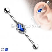 Marquise Crystal Center and Clear Crystals Around 316L Surgical Steel Industrial Barbells