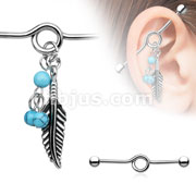 316L Surgical Steel Industrial Barbell with Turquoise Beads and Tribal Feather Dangl