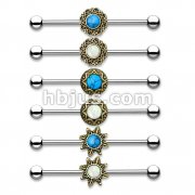 36 Pcs Turquoise and Opal Glitter Centered on Antique Gold IP Round Filigree 316L Industrial Barbell Bulk Pack (6 pcs x 6 Styles)