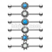 36 Pcs Turquoise and Opal Glitter Centered on Antique Silve IP Round Filigree 316L Industrial Barbell Bulk Pack (6 pcs x 6 Styles)