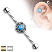 Turquoise Centered Heart Filigree 316L Surgical Steel Industrial Barbell