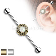 Opal Glitter Centered Heart Filigree 316L Surgical Steel Industrial Barbell