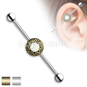 Opal Glitter Centered Round Tribal Starburst 316L Surgical Steel Industrial Barbell