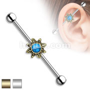 Turquoise Centered Tribal Sunburst 316L Surgical Steel Industrial Barbell