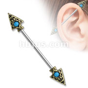 Turquoise set Tribal Spear on Both sides 316L surgical Steel Industrial Barbells