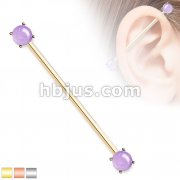 Round Amethyst Stone Prong Set Ends 316L Surgical Steel Industrial Barbells