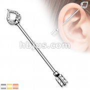 Heart and Feather Arrow 316L surgical Steel Industrial Barbells