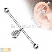 Feather Dangle 316L surgical Steel Industrial Barbells