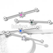 5 CZ Flower with Opal Glitter Center 316L Surgical Steel Industrial Barbells