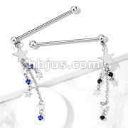 Star with Black CZ and Star Chain Dangle 316L Surgical Steel Industrial Barbells