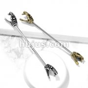Hissing Snake Heads on Both Sides 316L Surgical Steel Industrial Barbells