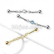 Triple Round CZ Chain 316L Surgical Steel Industrial Barbell