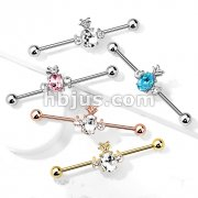 Oval Crystal Set Pineapple with Double Round Crystals 316L Surgical Steel Industrial Barbell
