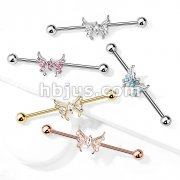 Marquise Crystal Center Crystal Paved Butterfly 316L Surgical Steel Industrial Barbell