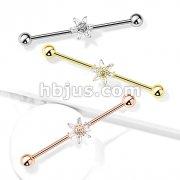 6 Princess Cut CZ Petal Flower 316L Surgical Steel Industrial Barbells