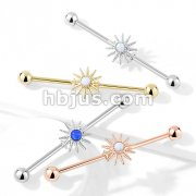 Opal Center Sunburst 316L Surgical Steel Industrial Barbell