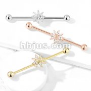 Marquise CZ Snowflake 316L Surgical Steel Industrial Barbell