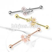 CZ and Enamel Flower Bouquet 316L Surgical Steel Industrial Barbells
