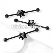 Crystal Set Spider on Web 316L Surgical Steel Industrial Barbell