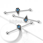 Turquoise Enamel Center Tribal Arrow 316L Surgical Steel Industrial Barbell