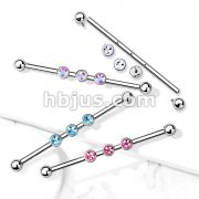 3-Internal Thread Round Gem 316L Surgical Steel Internal thread Industrial Barbells