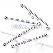 3-Internal Thread Round Opal Center 316L Surgical Steel Internal thread Industrial Barbells
