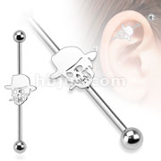 Skull with Hat 316L Surgical Steel Industrial Barbell